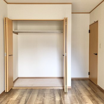 【洋室6.5帖】丈の長い衣類もすっぽりと入ります。