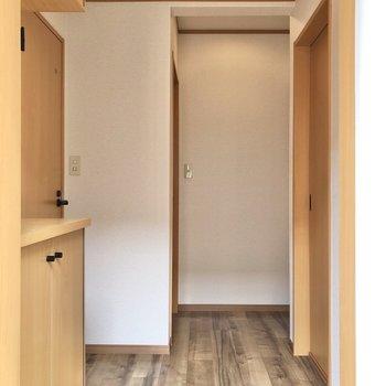 玄関から見ると、右がサニタリールーム、左がトイレ、奥が居室に続いています。