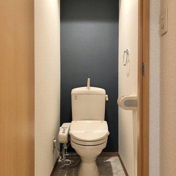 トイレでもシックなクロスに出会えます。