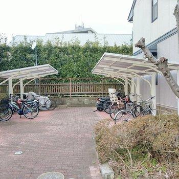 駐輪場は屋根付き!置く場所はしっかりあります。