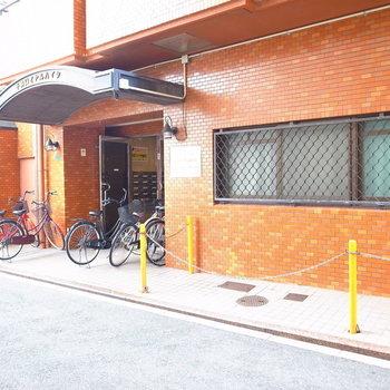 【共用部】入り口の両側も駐輪場になっています。