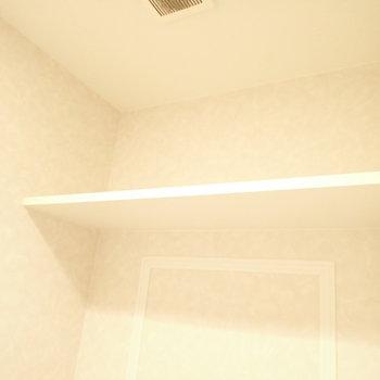 トイレは上にペーパー置き場。