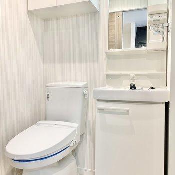 温水洗浄便座付きのトイレですよ。