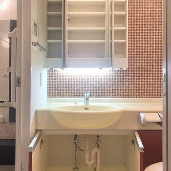 こちらも赤を基調にした横幅のある洗面台は細かな収納がしっかり。