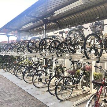 きちんと整備されて綺麗な駐輪場。