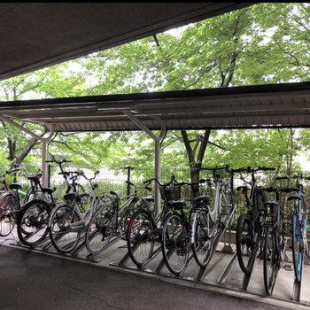 自転車置場も屋根付きです。