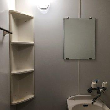 鏡も棚も付いています。(※写真は4階の同間取り別部屋のものです)