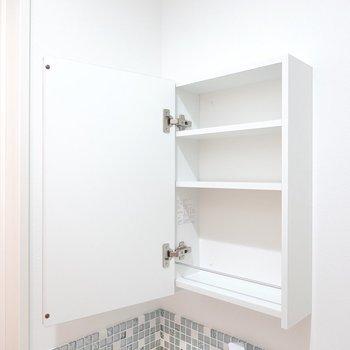 鏡の後ろは収納棚に。生活感が出るモノはこちらへ。