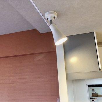 キッチンの照明はスポットライトタイプでスタイリッシュ。(※写真の小物等は見本です)