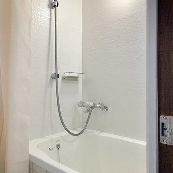 お隣さんが深めの浴槽。カーテンで仕切ることができます。
