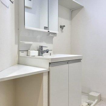 左手前から、収納用の棚、洗面台、洗濯パンです。(※写真は7階の同間取り別部屋のものです)