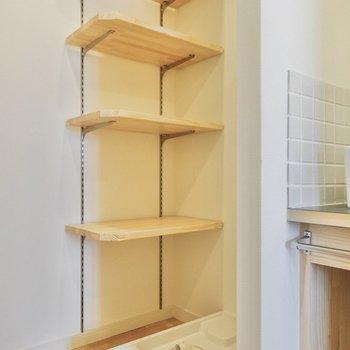 洗濯機置き場は玄関のよこに。可動式の棚も付いてます。