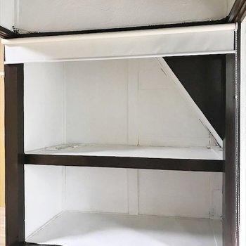 収納はロールカーテンで目隠しできます◎※写真は同間取り・別部屋のものです。