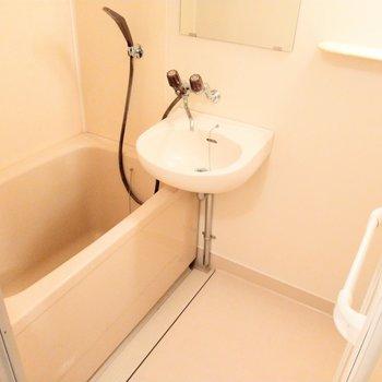 お風呂は2点ユニット。歯磨きはここで。棚もしっかりあります。