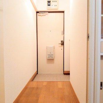 玄関前の廊下も広々。木目の床が雰囲気あるな。