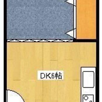広々とした1DK。(※実際は反転間取りです。クローゼットは逆側、角部屋です。)