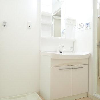 洗面台と洗濯機はおとなりです。