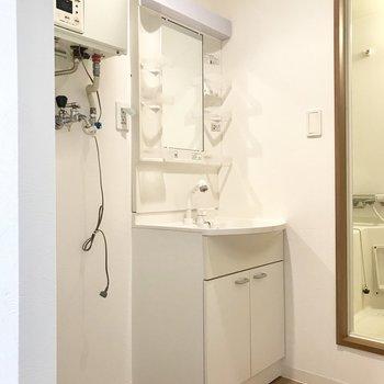 左側には脱衣所。スタンダードタイプの洗面台※写真は同間取り別部屋のもの