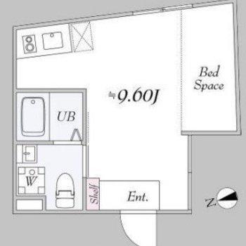 ベッドスペースがある1R。