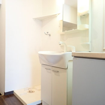 となりに洗面台、洗濯機と並びます。