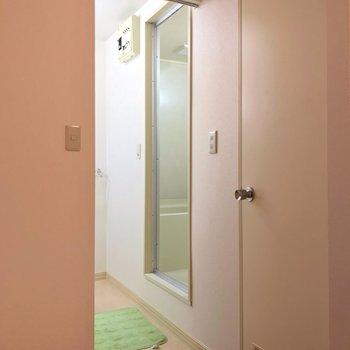 脱衣所には扉ではなくカーテンレールがついていますよ。(※写真の小物は見本です)