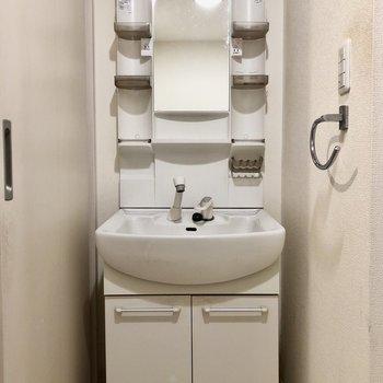 脱衣所には独立洗面台と洗濯機置き場が対面であります!(※写真は清掃前のものです)
