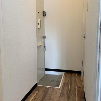 玄関はこちら。シューズボックスがないのでラックのご用意