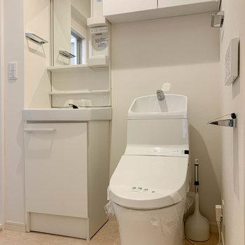 脱衣所へ。トイレの上にも収納。
