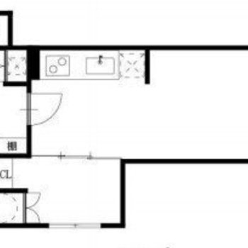 メインの部屋とベッドスペースに分かれた1LDKタイプのお部屋。