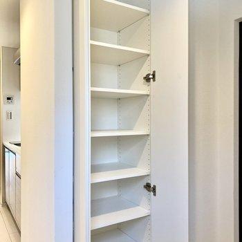 縦長のシューズボックス。10足は入りそうな大きさです。※写真は4階の同間取り別部屋のものです