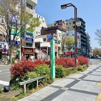 駅近くの通り。飲食店など様々なお店が軒を連ねます。