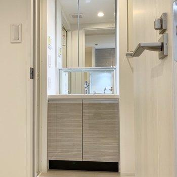 鏡が大きくてスタイリングも楽々です。※写真は4階の同間取り別部屋のものです