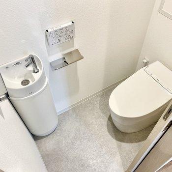 美しく品のあるお手洗い。清潔な水ですぐ手を洗えますよ。