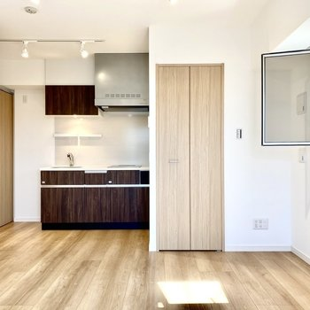 キッチン手前に扉がありますね。
