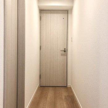 廊下突き当りが脱衣所。手前左側がトイレとなっています。