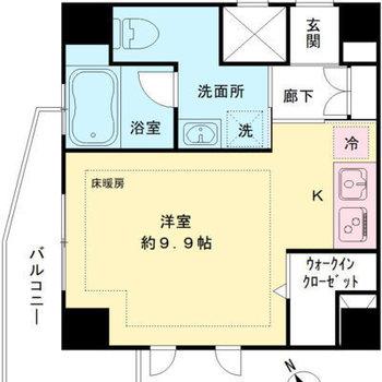 居室広めの1R。