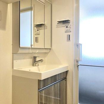 洗面台は開くと収納になっている機能的なタイプのもの。