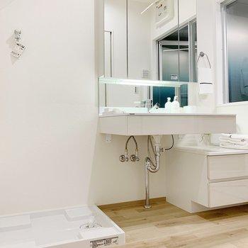 こちらはサニタリールーム。独立洗面台がステキなんです!(※小物は見本です)