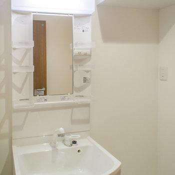 棚付きの洗濯機置場のお隣はシャンプードレッサー(※写真は1階の反転間取り別部屋のものです)