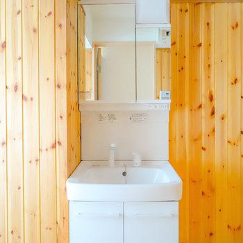 杉板張りの脱衣所で、温泉旅館のような気分を味わえるお部屋です。(※写真は通電前のもの)