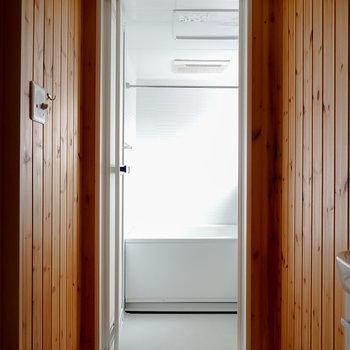左手には浴室。こちらも杉板に囲まれていて、気分が高まる…!