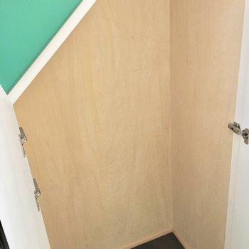 収納は階段下に。置けるものが限られそう、、※写真は2階反転間取り・別部屋のものです