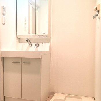 洗面台は鏡を開けると収納になっていますよ。