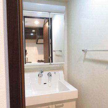脱衣所にはスタイリッシュな洗面台。※写真と文章は12階の同間取り別屋のものです。
