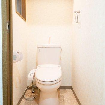 ほんのりピンクがかったトイレ。