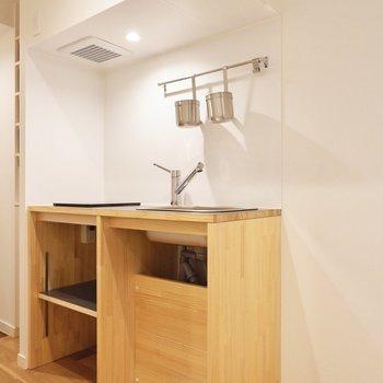 温かみがある木材のキッチン