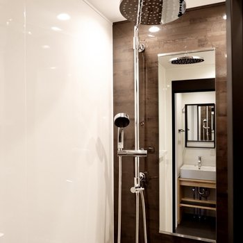 頭上からのものと通常のシャワーヘッド両方のホテル仕様。