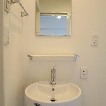 コロンとしたボタンみたいな洗面台。(※写真は2階の同間取り別部屋のものです)