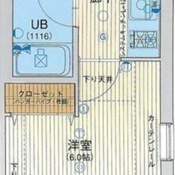 1人暮らしにぴったりな1Kのお部屋。