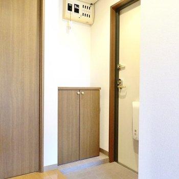 玄関は廊下の真ん中にあるおかげで大きく開けています。
